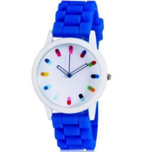 Wyjątkowy modny kolorowy zegarek na rękę silikonowy (niebieski) - 2824377618