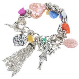 Modna posrebrzana bransoletka z kolorowych koralik - 2824376727