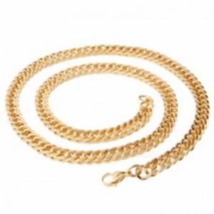 Naszyjnik prosty łańcuch łańcuszek z tytanowej stali z karabińczykiem (złoty) - 2873627356