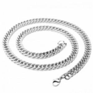 Naszyjnik prosty łańcuch łańcuszek z tytanowej stali z karabińczykiem (srebrny) - 2873627355