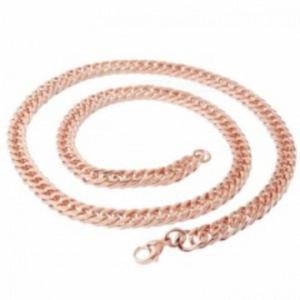 Naszyjnik prosty łańcuch łańcuszek z tytanowej stali z karabińczykiem (różowe złoto) - 2873627354