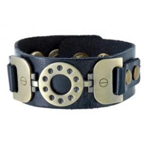 Modna zarchaizowana skórzana bransoletka na rękę (czarna) - 2824376730