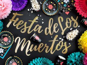 Baner Dia de Los Muertos - Fiesta de Los Muertos, złoty, 22x160cm - 2889697915