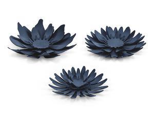Dekoracje papierowe Kwiaty, ciemny granat (1 karton / 40 op.) (1 op. / 3 szt.) - 2889698772