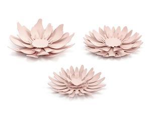 Dekoracje papierowe Kwiaty, pudrowy róż (1 karton / 40 op.) (1 op. / 3 szt.) - 2889698774