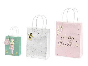 Świąteczne torebki na prezenty, mix (1 karton / 12 op.) (1 op. / 3 szt.) - 2889700910