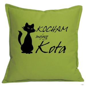 """Poszewka Z NAPISEM """" KOCHAM MOJEGO KOTA """" groszkowa - 2863827606"""