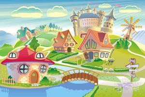 Fototapeta dla dzieci zamek, domki 45a - 2837153325