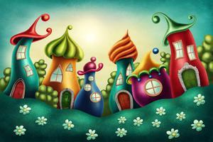 Fototapeta dla dzieci bajkowe domki 59a - 2837153339