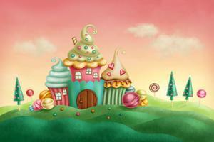 Fototapeta dla dzieci cukierki, domki 62a - 2837153342
