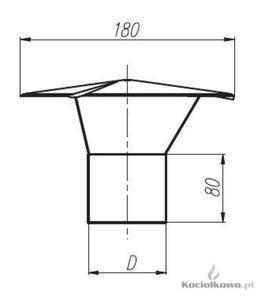 Spiroflex Wywieka nierdzewna, element kominów jednościennych kwasoodpornych, D = 80 mm [SX-TJN80W] - 2822206636