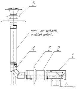 Spiroflex Zestaw przyłączeniowy w szacht kominowy 80/125 JUnkers [SX-TD80/125PAKSZJ-B ] - 2822207138