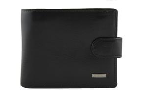 Klasyczny czarny skĂłrzany portfel Albatross z klipsem - 2848499094