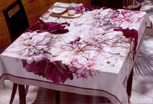 Obrus plamoodporny 85x85 Flower Krem+Róż Eurofirany - 2836273983