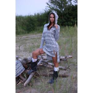 Koszula damska z długim rękawem 564 rozmiar M szara z kapturem wzór norweski - 2838087771
