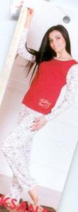 Piżama damska długa 373 rozmiar XL bordowo beżowa wzór norweski - 2877017202