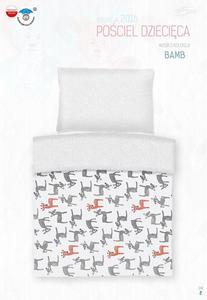 Pościel bawełniana 100x135 Bambi Jelonki biała groszki szare 3792 do łóżeczka - 2842260860