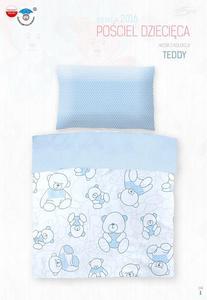 Pościel bawełniana 100x135 Teddy Misie zygzak błękitny 4798 do łóżeczka - 2851936113