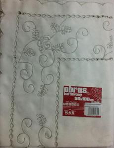 Obrus haftowany 50x100 Elegant kremowy z szarym haftem. Niska cena!!! - 2847009276