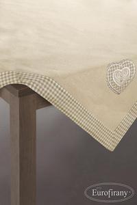 Obrus Patsy 85x85 beżowy beżowa krata z haftem serce Eurofirany - 2851936157
