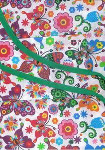 Fartuch kuchenny bawełniany 75x62 Łowicki motyle kolorowe na białym tle - 2877017517