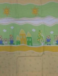 Pościel flanelowa 90x120 zielona kremowa Misie rodzinka w ogródku domki - 2851936377