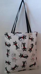 424070da46c66 Torba bawełniana na zakupy 37x38 Koty białe czarne w muszce czerwonej -  2854611246