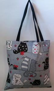 Torba bawełniana na zakupy 37x38 17A szara koty myszki krawaty czerwone - 2851936388