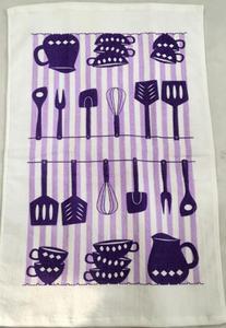 Ręcznik kuchenny 38x65 Kitchen Tools przybory kuchenne fioletowo białe - 2852804777