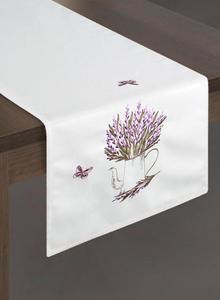 Obrus dekoracyjny 85x85 Modena biały fioletowy haftowany motyle lawenda - 2858388300