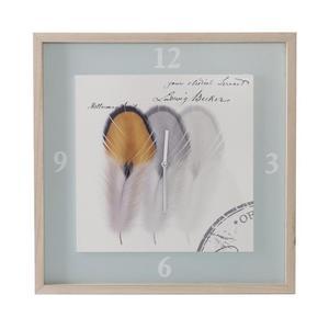 Zegar ścienny 50x3x50 Luke 02 trzy piórka drewniany kremowy szary Eurofirany - 2854611340