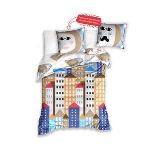 Pościel bawełniana 160x200 Budynki kolorowe Ona On NL 173011 5341 - 2858388624