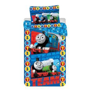 Pościel bawełniana 140x200 Tomek 0310 i Przyjaciele Thomas pociąg team poszewka 70x90