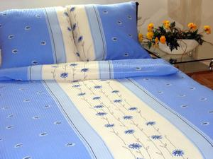 Pościel z kory 140x200 wzór 125/4 Margaretka stojąca niebieska na guziki 100% bawełna gruba - 2866101823