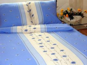 Pościel z kory 160x200 wzór 125/4 Margaretka stojąca niebieska na guziki 100% bawełna gruba - 2877016694