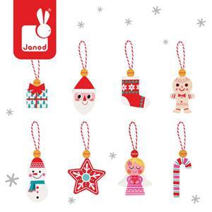 Ozdoby świąteczne - zawieszki drewniane na choinkę dla dzieci 8 szt., Janod - 2858636393