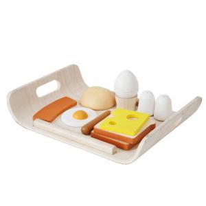 Drewniany zestaw śniadaniowy do zabawy - śniadanie na tacy, Plan Toys - 2833395329