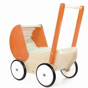 Wózek drewniany dla lalki - głęboki wózek z daszkiem, pościel dla lalki, Bajo - 2885376505