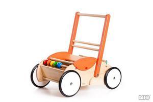 Drewniany chodzik pchacz dla dzieci - chodzik (wózek) na klocki, dla lalek, Bajo - 2833395504