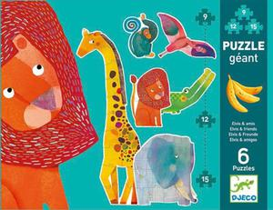 """Puzzle GIGANT 145 cm """"Elvis i przyjaciele"""" - 6 zwierzątek z puzzli, DJECO - 2833395545"""