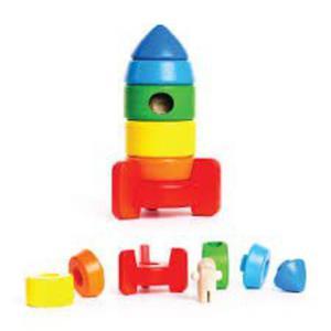 Drewniana piramida rakieta - drewniane klocki do układania, sorter, BAJO - 2833395580