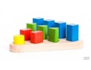Drewniany sorter figur 3D - piramida, sorter kształtów i kolorów, 10 figur, BAJO