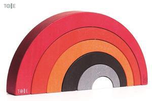 Drewniane klocki TOBE - klocki tęcza, łuki, piramida dla dzieci, BAJO - 2833395590