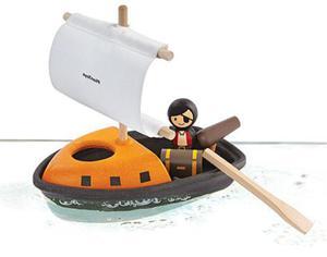 Drewniany statek piracki do wody - zestaw statek do kąpieli, do wanny, basenu + akcesoria, Plan Toys - 2833395597