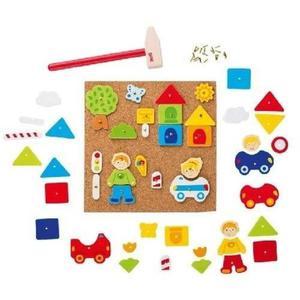 """Przybijanka """"Chłopczyk i dziewczynka w mieście"""" - manulana zabawa z figurami dla dzieci, 52 el., GOKI - 2833395615"""