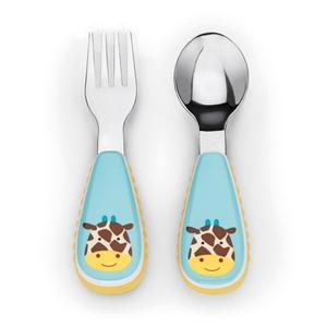 Sztućce dla dzieci ze stali nierdzewnej - zestaw widelec i łyżeczka, Zoo Żyrafa, SKIP HOP - Zoo Żyrafa - 2833395623