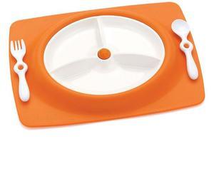Zestaw do jedzenia - talerz dla dzieci z matą antypoślizgową + widelec i łyżka, Mate Orange, SKIP HOP - Orange - 2833395634