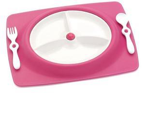 Zestaw do jedzenia - talerz dla dzieci z matą antypoślizgową + widelec i łyżka, Mate Pink, SKIP HOP - Pink - 2833395635
