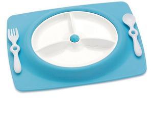 Zestaw do jedzenia - talerz dla dzieci z matą antypoślizgową + widelec i łyżka, Mate Blue, SKIP HOP - Blue - 2833395636