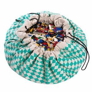 Worek na zabawki i mata do zabawy 2w1 - worek do przechowywania klocków, samochodzików itp. Zielone Romby, Play& Go - Zielone Romby - 2835563253